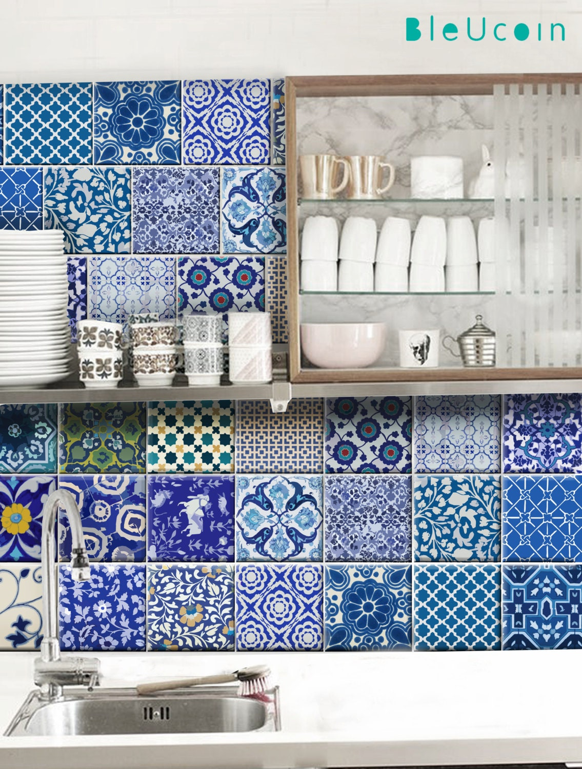 Kitchen/Bathroom Indian Jaipur Blue pottery Tile/ Wall/ Floor