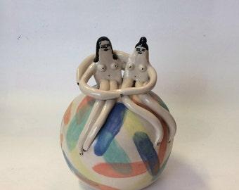 Rock couple ceramic sculpture