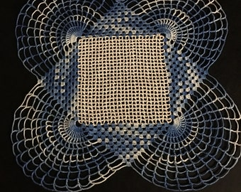 Vintage Hand Crocheted Blue and White Doily, Circa 1947