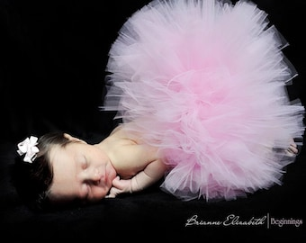 """Baby's First Tutu - Sewn 6"""" Pink Infant Tutu & Headband Set - sizes newborn up to 12 months - Perfect for 1st Birthdays and Shower Gifts"""