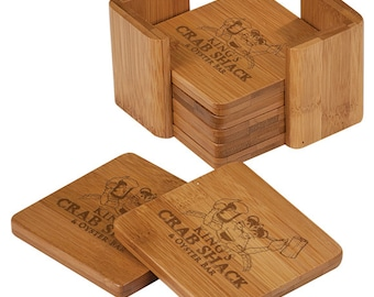 Bamboo Square 6 Coaster Set with Holder