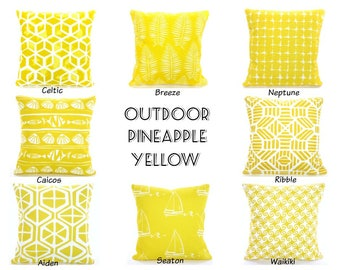 OUTDOOR  Yellow Pillow Covers Nautical Beach Pillows Nautical Cushions Pineapple Yellow White Patio Sun Room Deck All Sizes  Mix & Match