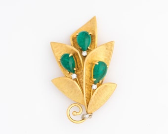 Vintage 1950s Jade & Diamond 18k Gold Brooch, VJ #620