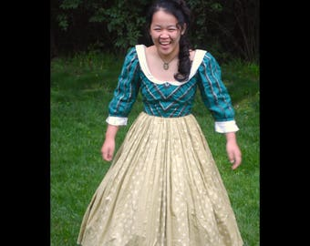 Renaissance Victorian Colonial Costume Dress Gown SCA Faire Reenactment Green Blue Adult S Cavalier 1600s 1700s 1800s Skirt Princess Queen