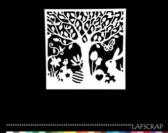 Cutout decor frame Easter Bunny tree flowers egg scrapbooking embellishment die cut scrap album deco