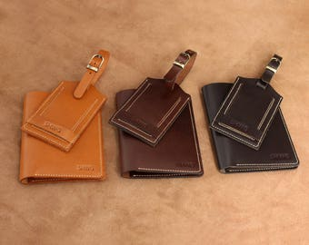 Leather Passport Holder and Luggage Tag Set Travel Set Wedding Gift
