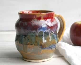 Curvy Stoneware Pottery Mug with Artful Dripping Gold and Multi Colored Glazes Handmade Coffee Cup 16 oz. Ready to Ship Made in USA