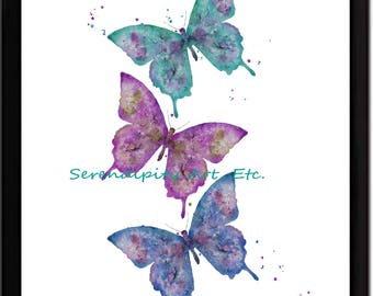 Butterfly Trio - Abstract Watercolor Print - Purple, Pink, Aqua -  Frame NOT Included
