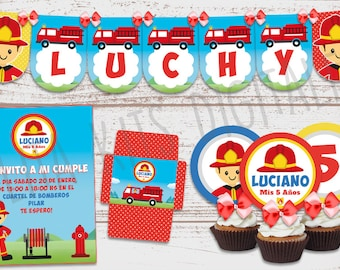 """Printable luxury Kit """"Firefighters"""" candy Bar, invitations, personalized, decoration treats. Birthday Baby boy"""