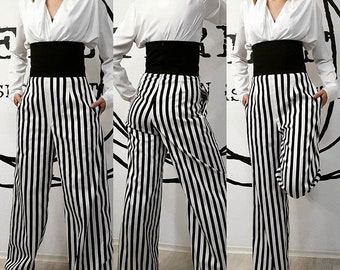 High waist trousers in pure cotton