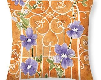 Gift Idea Purple Clematis Flowers Trellis Decorative Pillow