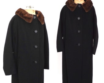 Vintage 1950s Black Wool Coat Fur Coat Mink Collar Swing Coat Outerwear 50s Winter Coat Hollywood Glamour Mad Men Medium Large Peacoat