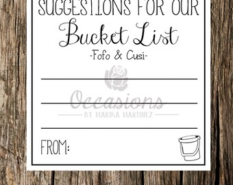 Bucket List Cards