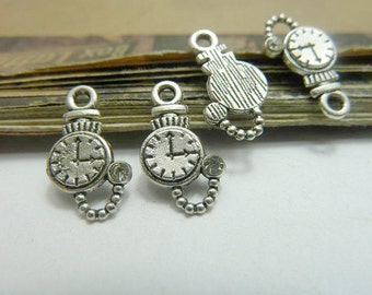 30 antique silver 10x16mm Clock Charms AC6717