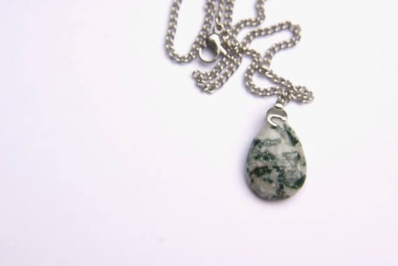 Natural Moss Agate Jewelry, Gemstone Necklace, Pendant Cabochon, Moss Agate Gift for Her, birthstone