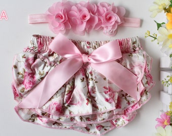 Baby Bloomers Headband Set Floral Bloomers Flower Hair Band Newborn to 1 Year Photo Prop