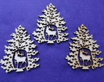 3 fir trees, wood, 8 x 6.5 cm (24-0019A)