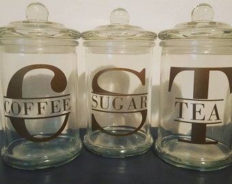 Coffee, tea and sugar glass jars - gold