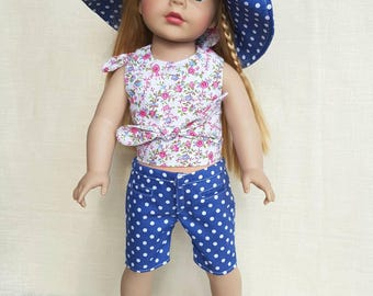 3 - pieces outfit for American Girl Doll. Bermuda shorts, wrap-around halter top for AG.