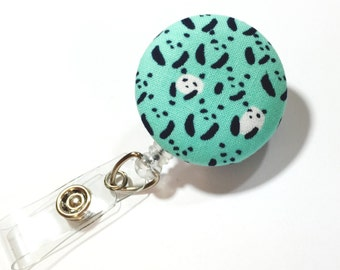 Panda Bear Badge Reel - Teal Panda Retractable Name Badge  - Name Badge Holder - Nurse Teacher Gift - Name Tag - Swivel Retractable ID Badge