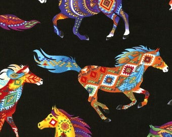 Southwest Navaho Design on Horses, Bright Colors, Black, Timeless Treasures (By YARD)~