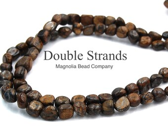 "Two 15.5"" strands Bronzite Nugget 8x5"