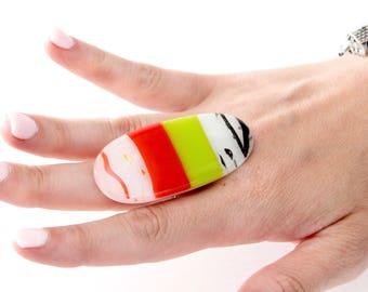 Glass Ring Adjustable Ring -   New Year Fashion, fused glass jewelry, handmade ring, cocktail ring, boho fashion, fashion ring