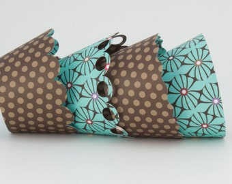 Reversible Cupcake Wrappers Brown Polka Dot and Floral (12)