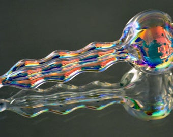 Hand Blown Iridescent Suncatcher, Ornament, Dichroic Ornament, Beautiful Any Time Gift, A Stunning Just Because Gift