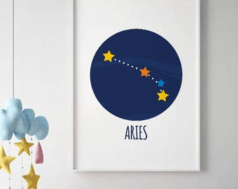 aries constellation, Aries Zodiac poster, SALE, astrology print, constellation print, horoscope poster, birthday gift aries, aries wall art