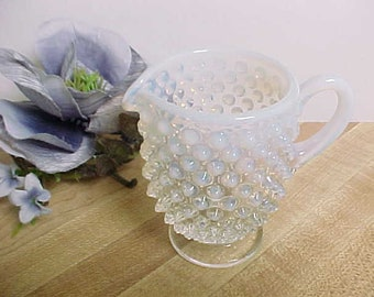 Vintage Fenton Hobnail Footed Creamer in French Opalescent, Elegant Depression Glass and Mid Century Serving Glassware