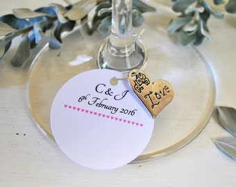 10 Personalised Wedding Name Cards with Silver Heart Charms- LOVE