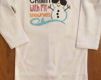 Chillin' With My Snowmies Snowman Baby Bodysuit or Shirt