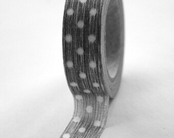 Washi Tape - 15mm - Elephant Grey Texture and White Dots - Deco Paper Tape No. 190