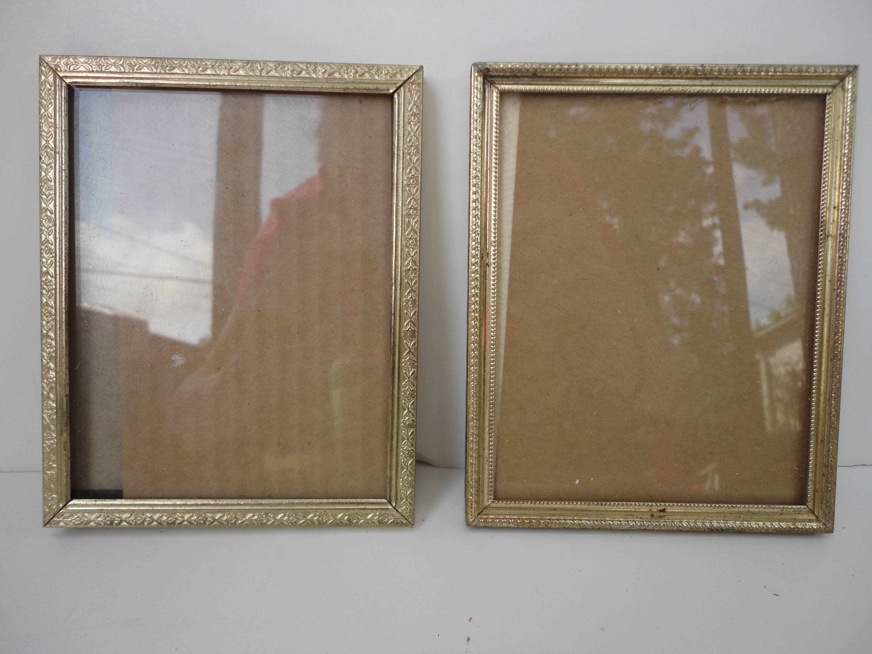 Set de 2 5 por 7 oro marcos metálicos, marcos de fotos vintage ...