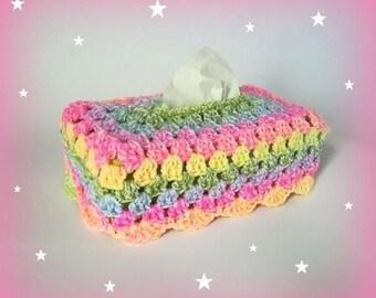 Cover tissue box Rainbow Granny crochet handmade made in France