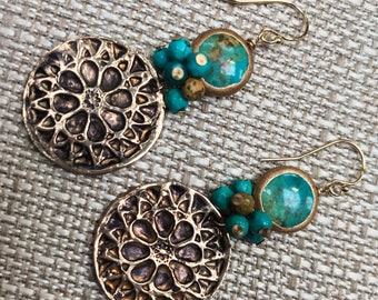 Rose Window bronze Turquoise Earrings