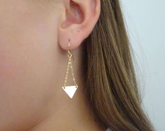 Triangle earrings, Geometric jewelry, triangle drop earrings, Dainty Minimalist Everyday Style, Gift for her, Everyday Rose gold earrings