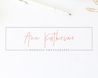 Premade logo, Photography logo, Watercolor logo, Square logo, Premade logo design, Watermark, Gold logo, Rose gold logo, Blog logo kit