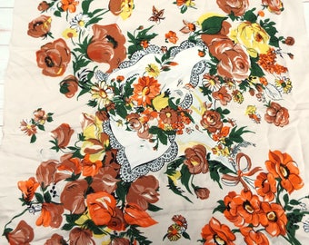 Vintage Scarf - Floral Scarf - 1950s Scarf - Vintage Novelty Scarf - Rose Scarf - Floral Scarf - Vintage Headscarf - Big Square Scarf