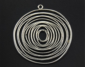 10pcs Antique Silver Filigree String Circle Round Charms Pendant A1695