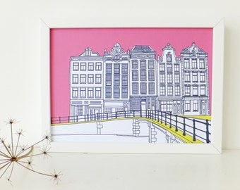 Amsterdam Print, Hot Pink art print, artwork, Print of Amsterdam, Holland, Picture of Amsterdam, Picture of Canal Houses