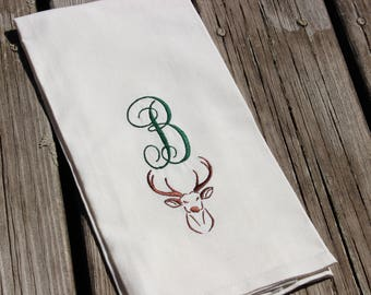 Hostess Gift, Personalized Dish Towel Embroidered With Monogrammed Initial with Deer for Cabin or Cottage