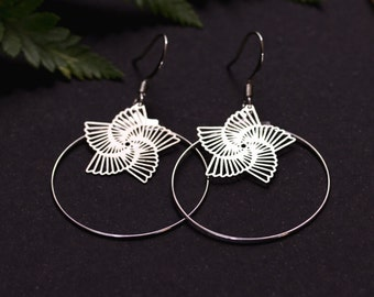 CLEARANCE Silver Star hoop earrings