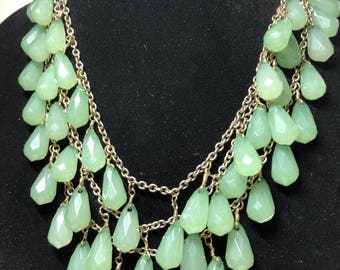 multi chain light green jade color beads Necklace 19 inches teardrop plastic beads