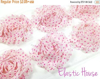 "SALE 30% OFF 2.5""  PRINT Shabby Rose Trim - White with Pink Dots - Polka Dots Shabby Trim - Printed Shabby Trim - Hair Accessories Supplies"
