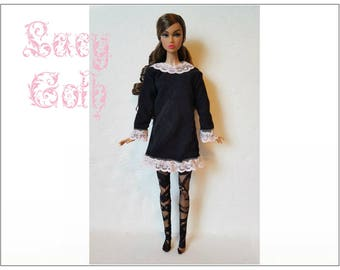 Poppy Parker Doll Clothes - LACY GOTH Black Dress and Lace Pantyhose - Custom Fashion - by dolls4emma