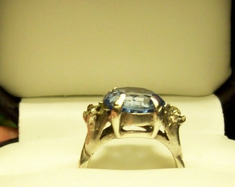Antique  sterling ring with large blue colored stone Signed Ciner