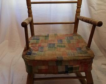 Vintage 1950s Child's Wooden Rocking Chair-Patchwork