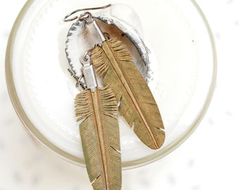 mini hand carved leather feather earrings - dusty olive